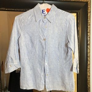 Blue and White Striped Linen Shirt Size XS